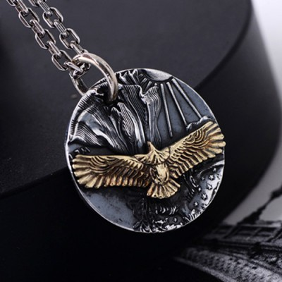 "Men's Fine Silver Eagle Tag Necklace with Sterling Silver Anchor Link Chain 18""-30"""