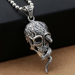 "Men's Sterling Silver Snake Skull Necklace with Sterling Silver Bead Chain 18""-30"""