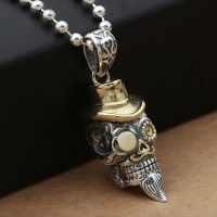 "Men's Sterling Silver Hat Skull Necklace with Sterling Silver Bead Chain 18""-30"""