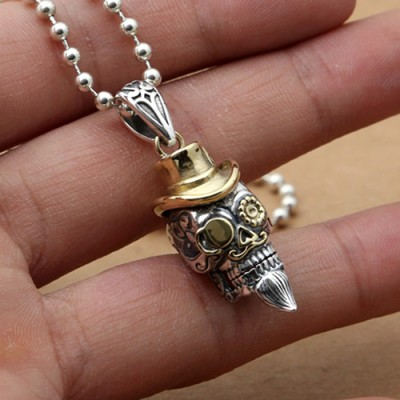 """Men's Sterling Silver Hat Skull Necklace with Sterling Silver Bead Chain 18""""-30"""""""