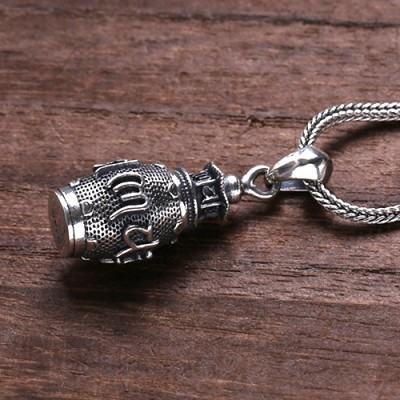 """Men's Sterling Silver Stupa Necklace with Sterling Silver Wheat Chain 18""""-30"""""""