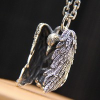 "Men's Sterling Silver Raven Necklace with Sterling Silver Anchor Link Chain 18""-30"""