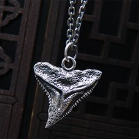 "Men's Sterling Silver Shark Tooth Necklace with Sterling Silver Anchor Link Chain 18""-30"""
