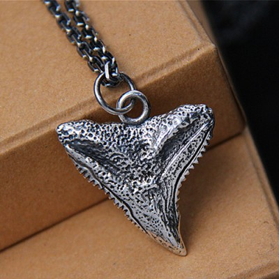 """Men's Sterling Silver Shark Tooth Necklace with Sterling Silver Anchor Link Chain 18""""-30"""""""