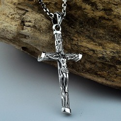 "Men's Sterling Silver Jesus Cross Necklace with Sterling Silver Anchor Link Chain 18""-30"""