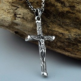 """Men's Sterling Silver Jesus Cross Necklace with Sterling Silver Anchor Link Chain 18""""-30"""""""