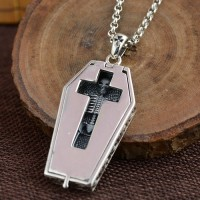 "Men's Sterling Silver Cross Skeleton Coffin Necklace with Sterling Silver Rolo Chain 18""-30"""