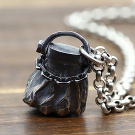 """Men's Sterling Silver Fist Necklace with Sterling Silver Rolo Chain 18""""-30"""""""