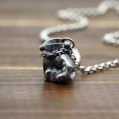 "Men's Sterling Silver Fist Necklace with Sterling Silver Rolo Chain 18""-30"""