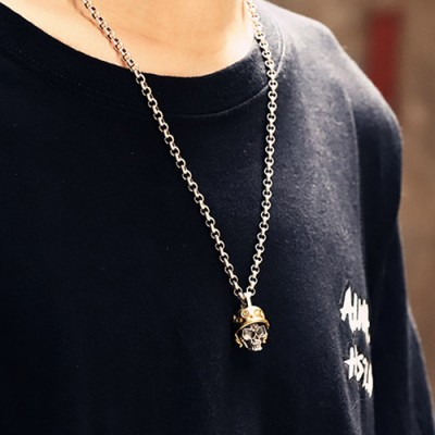 "Men's Sterling Silver Soldier Skull Necklace with Sterling Silver Rolo Chain 18""-30"""