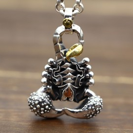 """Men's Sterling Silver Scorpion Necklace with Sterling Silver Rolo Chain 18""""-30"""""""