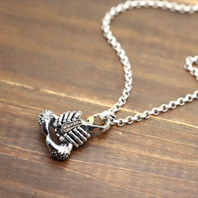 "Men's Sterling Silver Scorpion Necklace with Sterling Silver Rolo Chain 18""-30"""