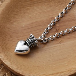 "Men's Sterling Silver Crown Heart Necklace with Sterling Silver Rolo Chain 18""-30"""