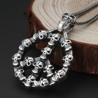 "Men's Sterling Silver Skulls Anti-War Necklace with Sterling Silver Wheat Chain 18""-30"""