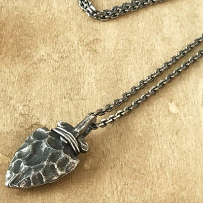 "Men's Sterling Silver Ancient Spearhead Necklace with Sterling Silver Anchor Link Chain 18""-30"""