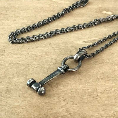 """Men's Sterling Silver Hammer Necklace with Sterling Silver Anchor Link Chain 18""""-30"""""""