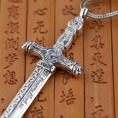 """Men's Sterling Silver Sword Necklace with Sterling Silver Wheat Chain 18""""-30"""""""