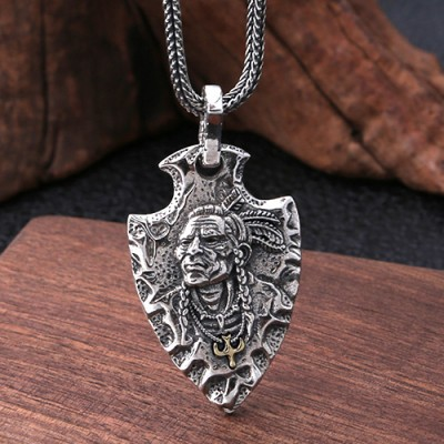 "Men's Sterling Silver Indian Chief Spearhead Necklace with Sterling Silver Wheat Chain 18""-30"""