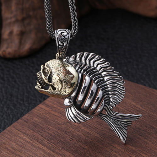 "Men's Sterling Silver Piranha Necklace with Sterling Silver Wheat Chain 18""-30"""