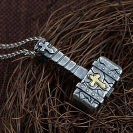 """Men's Fine Silver Hammer Necklace with Sterling Silver Anchor Link Chain 18""""-30"""""""