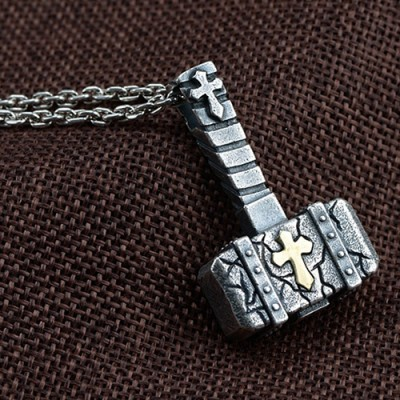 "Men's Fine Silver Hammer Necklace with Sterling Silver Anchor Link Chain 18""-30"""