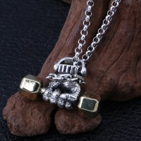 "Men's Sterling Silver Dumbbell Hand Necklace with Sterling Silver Rolo Chain 18""-30"""