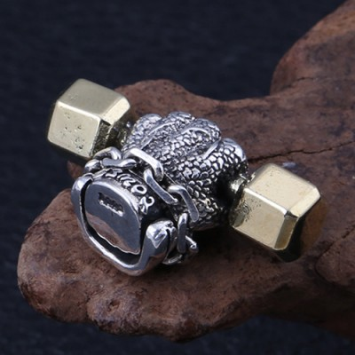 """Men's Sterling Silver Dumbbell Hand Necklace with Sterling Silver Rolo Chain 18""""-30"""""""
