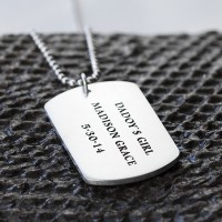 "Men's Sterling Silver Personalized Dog Tag Necklace with Sterling Silver Bead Chain 18""-30"""