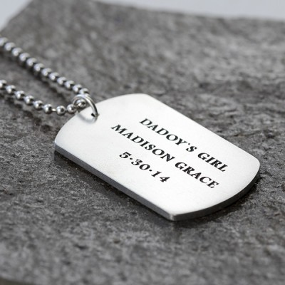 """Men's Sterling Silver Personalized Dog Tag Necklace with Sterling Silver Bead Chain 18""""-30"""""""
