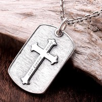 "Men's Sterling Silver Seven Sins Cross Necklace with Sterling Silver Anchor Link Chain 18""-30"""