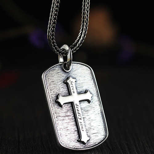 "Men's Sterling Silver Seven Sins Cross Necklace with Sterling Silver Wheat Chain 18""-30"""