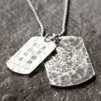 "Men's Sterling Silver Hammered Personalized Dog Tags Necklace with Sterling Silver Bead Chain 18""-30"""