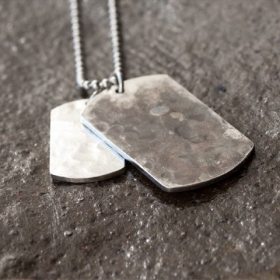 """Men's Sterling Silver Hammered Personalized Dog Tags Necklace with Sterling Silver Bead Chain 18""""-30"""""""