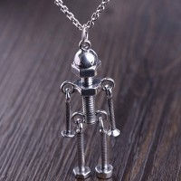 "Men's Sterling Silver Screw Robot Necklace with Sterling Silver Anchor Link Chain 18""-30"""