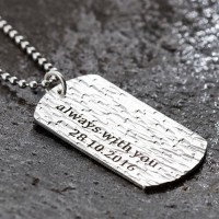 "Men's Sterling Silver Hammered Personalized Dog Tag Necklace with Sterling Silver Bead Chain 18""-30"""