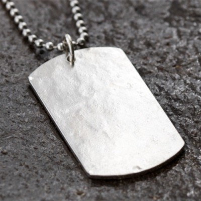 """Men's Sterling Silver Hammered Personalized Dog Tag Necklace with Sterling Silver Bead Chain 18""""-30"""""""