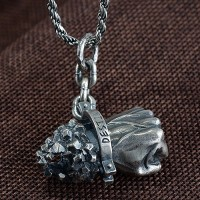 "Men's Sterling Silver Destiny Fist Necklace with Sterling Silver Rope Chain 18""-24"""