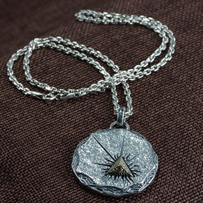 "Men's Fine Silver All-Seeing Eye Necklace with Sterling Silver Anchor Link Chain 18""-30"""