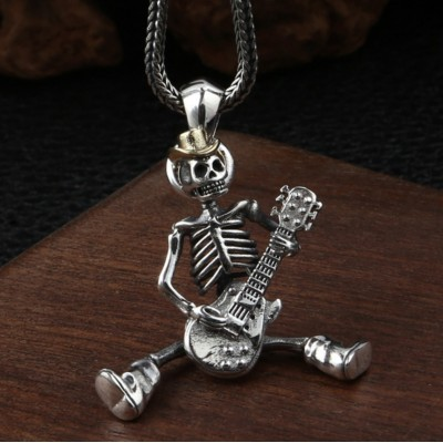"Men's Sterling Silver Skull Guitarist Necklace with Sterling Silver Wheat Chain 18""-30"""