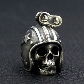 """Men's Sterling Silver Biker Skull Necklace with Sterling Silver Bead Chain 18""""-30"""""""