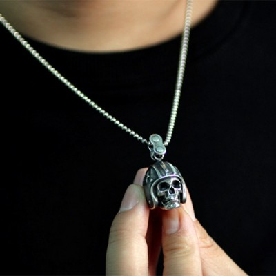 "Men's Sterling Silver Biker Skull Necklace with Sterling Silver Bead Chain 18""-30"""