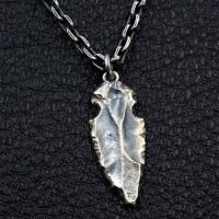 "Men's Sterling Silver Rock Spearhead Necklace with Sterling Silver Anchor Link Chain 18""-30"""