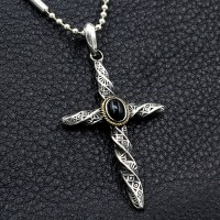 """Men's Sterling Silver Twisted Cross Necklace with Sterling Silver Bead Chain 18""""-30"""""""