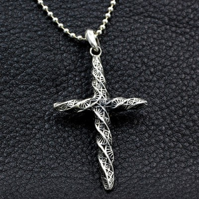 "Men's Sterling Silver Twisted Cross Necklace with Sterling Silver Bead Chain 18""-30"""