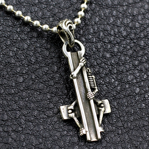 "Men's Sterling Silver Skull Sitting On Cross Necklace with Sterling Silver Bead Chain 18""-30"""
