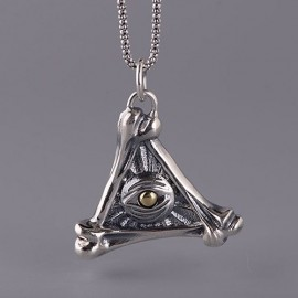 """Men's Sterling Silver Bones All-Seeing Eye Necklace with Sterling Silver Popcorn Chain 18""""-30"""""""