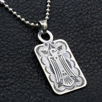 "Men's Sterling Silver Thunderbird Tag Necklace with Sterling Silver Bead Chain 18""-30"""