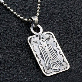 """Men's Sterling Silver Thunderbird Tag Necklace with Sterling Silver Bead Chain 18""""-30"""""""