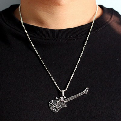 "Men's Sterling Silver Skull And Crossbones Guitar Necklace with Sterling Silver Bead Chain 18""-30"""