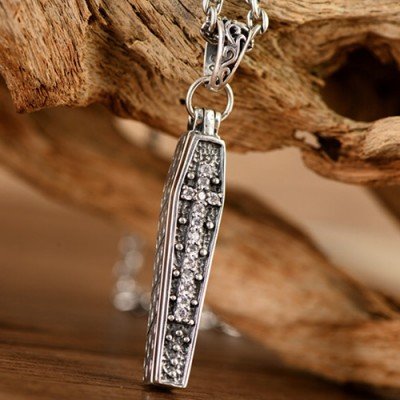 "Men's Sterling Silver Coffin Skull Necklace with Sterling Silver Anchor Link Chain 18""-30"""